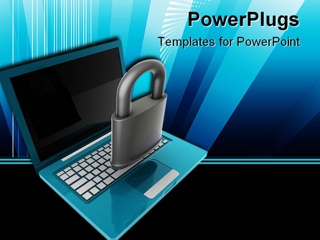 powerpoint template notebook laptop with black screen and