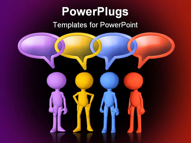 PowerPoint Template Displaying Four Figures in Different Colors with Linked Conversation Bubbles