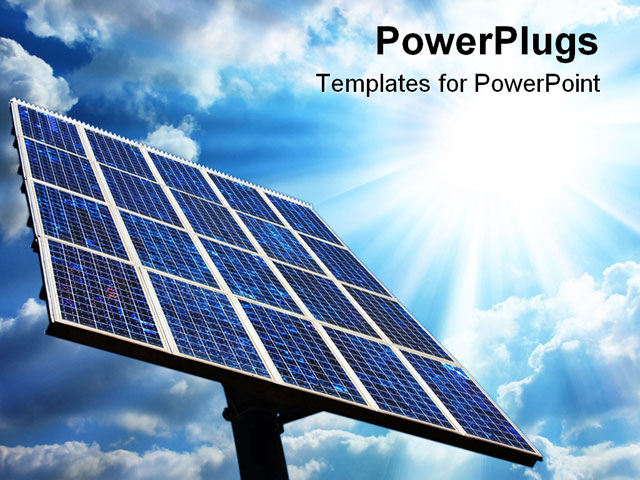 powerpoint template large solar panel with blue sky and sun green energy 26751. Black Bedroom Furniture Sets. Home Design Ideas
