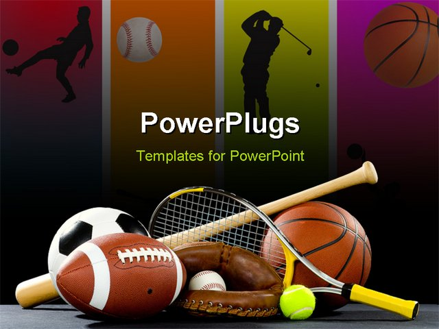 powerpoint template variety of sports equipment on a black background including an american. Black Bedroom Furniture Sets. Home Design Ideas