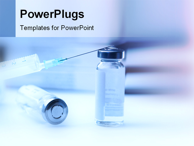 PowerPoint Template Displaying Syringe and Medicine for Injection with a Blurred Background