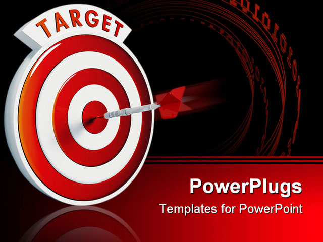 bullseye template printable - dart hitting the bullseye of a red target powerpoint