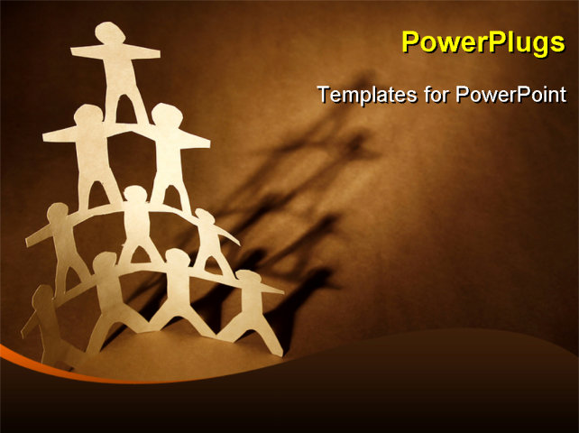 Human team pyramid on brown background powerpoint template for Team building powerpoint presentation templates