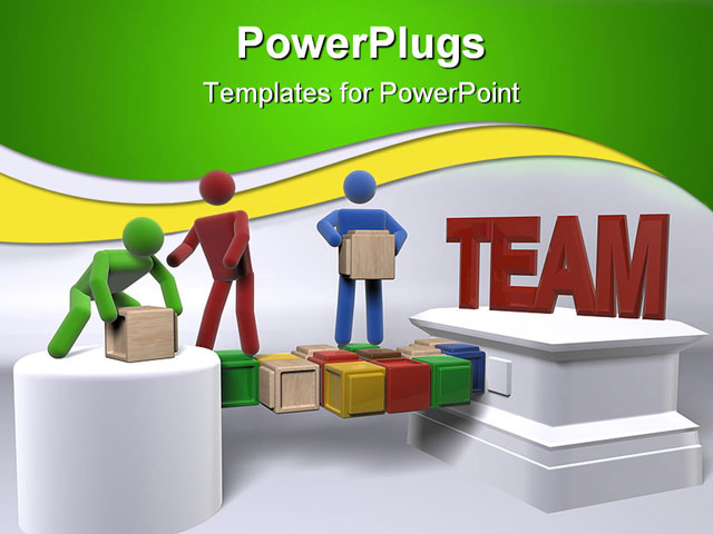 Powerpoint template teamwork metaphor with 3d people for Team building powerpoint presentation templates