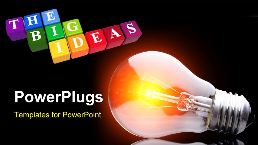 PowerPoint Template - Photo of light bulb on black - Title Slide