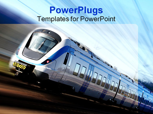 powerpoint template modern high speed train in motion 29977