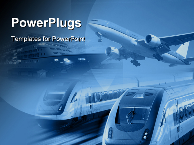 powerpoint template airplane train and ship at one place