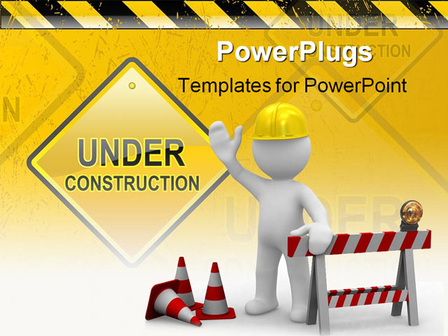 Construction powerpoint template construction ppt templates worker says hello we are under construction powerpoint construction powerpoint template toneelgroepblik Image collections