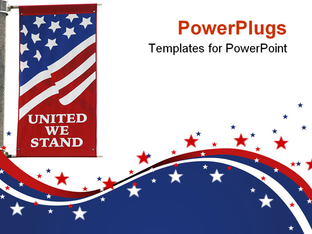 united we stand american flag banner on isolated background powerpoint template background of. Black Bedroom Furniture Sets. Home Design Ideas