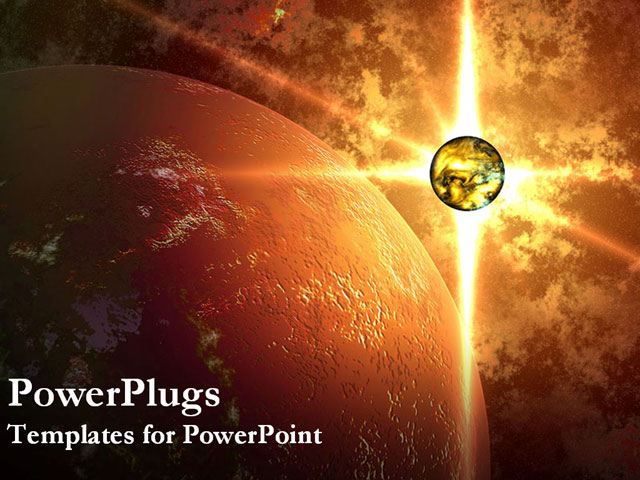powerpoint template  glowing planet beside large planet