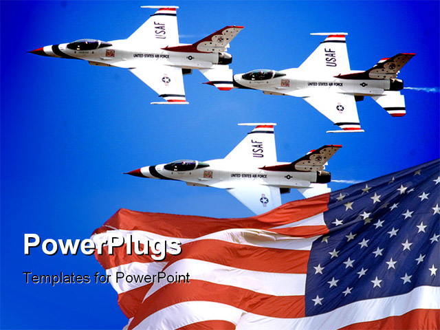 powerpoint template a number of airplanes with an american flag 30494. Black Bedroom Furniture Sets. Home Design Ideas