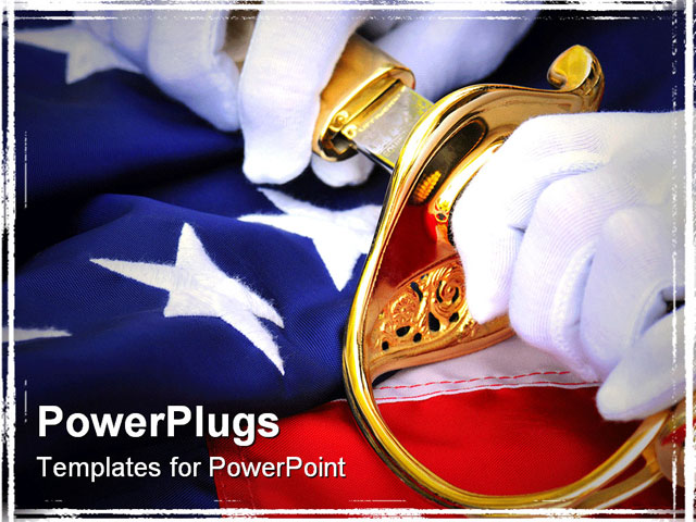 Powerpoint template white gloved hands pulling a sword for Marine corps powerpoint template