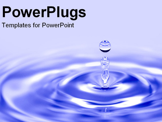 PowerPoint Template: blue water drop into pond as a ...