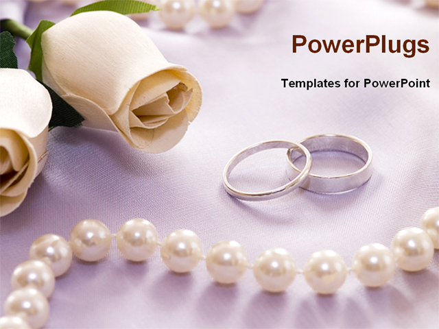 Wedding Rings With Flower And Perl Necklace Powerpoint Template Background Of Wedding Jewelry