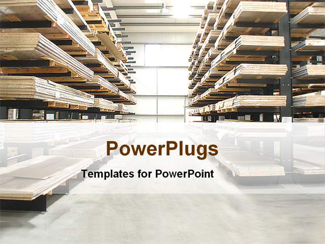Powerpoint template warehouse with wooden stacked shelves for Warehouse layout template