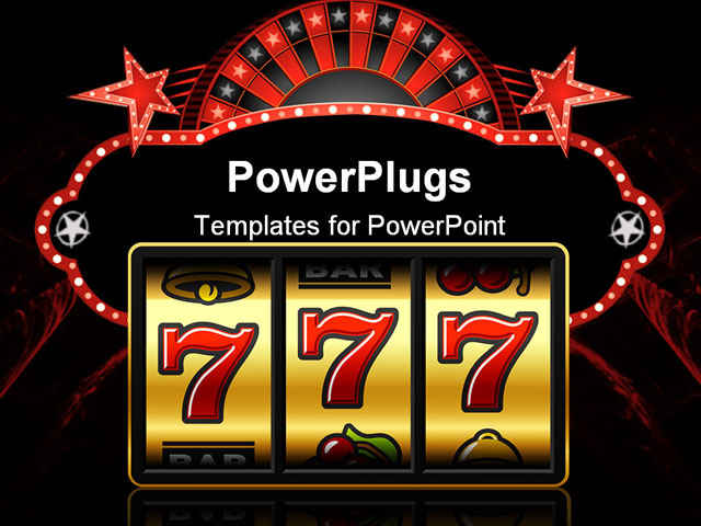 PowerPoint Template about winning, slot machine, vector