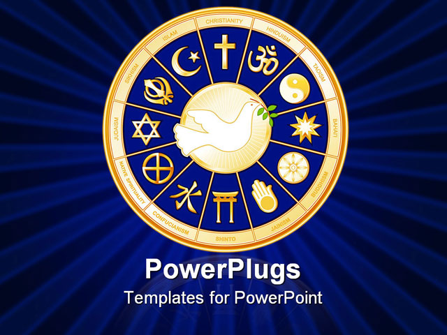 PowerPoint Template - Dove of Peace with symbols of 12 world religions in a royal blue and gold medallion - Title Slide